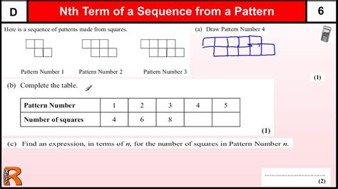 number pattern exam questions nth term from a number pattern gcse maths foundation