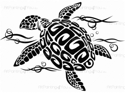 Design Wall Stickers stickers muraux tortue tribal vdtr1028fr