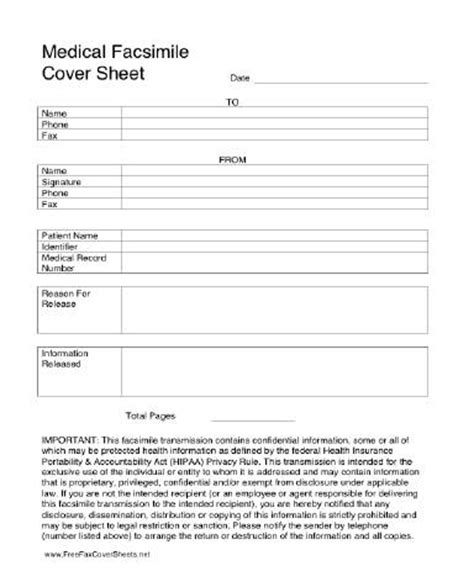 free printable medical fax cover sheet medical hipaa fax cover sheet at freefaxcoversheets net