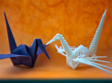Origami Skeleton - origami crane skeleton 3d model 3d printable obj