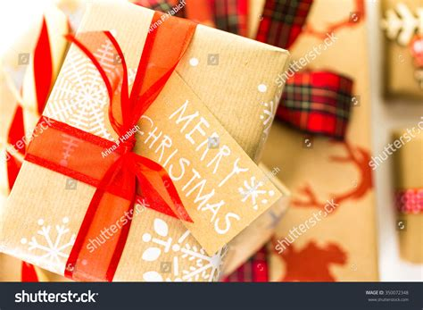 brown christmas gifts gifts wrapped brown paper stock photo 350072348