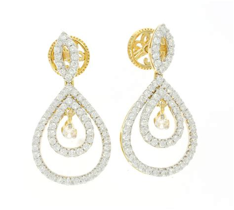 Yellow Gold Chandelier Earrings I1 G 2 85ct Pear 14k Yellow Gold