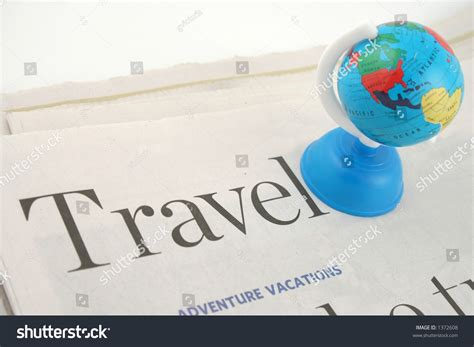 Travel Section Newspaper Globe Stock Photo 1372608