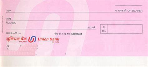 Credit Card Form Of Union Bank Of India Bank Cheque Syndicate Bank Cheque Printing