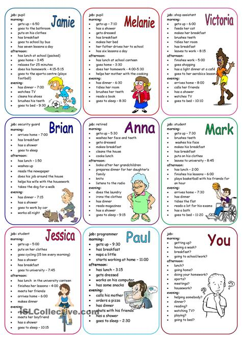 printable english conversation worksheets daily routines speaking cards learn english pinterest