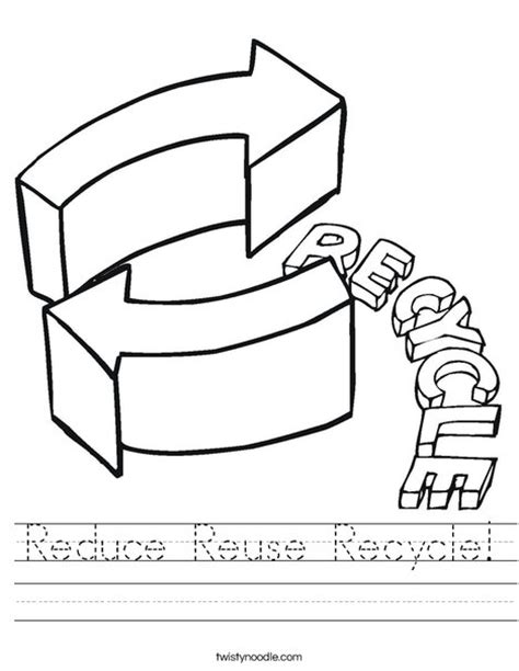 coloring pages recycle printables reduce reuse recycle worksheet twisty noodle