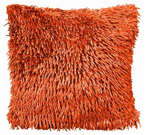 STYLISH CHENILLE SHAGGY PILE DESIGNER CUSHION ORANGE COLOUR