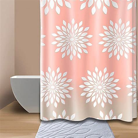 coral floral curtains extra wide medina floral shower curtain in coral white