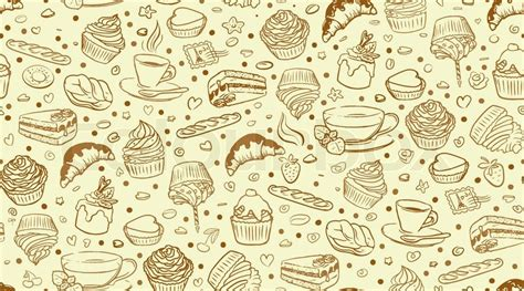 hd cupcake pattern coffee time seamless background stock vector colourbox