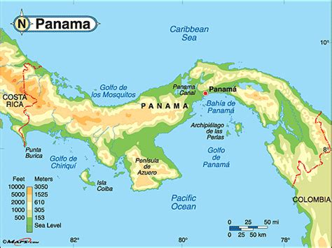 physical map of panama physical geography in panama