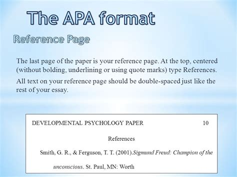 reference section apa format the apa format title page ppt video online download