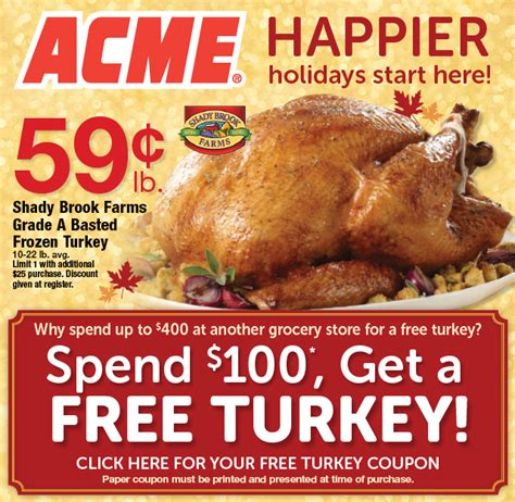 printable thanksgiving grocery coupons acme markets spend 100 get a free turkey 10 30 to 11 12 15