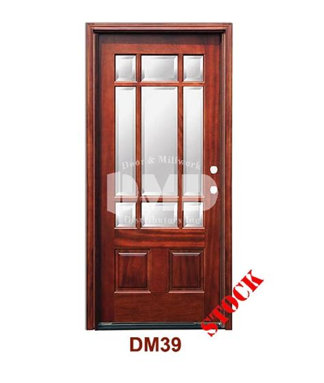 Exterior Doors Wholesale Dm39 Mahogany Exterior Nine Lite Craftsman With Bevel Ig Glass Door And Millwork Distributors