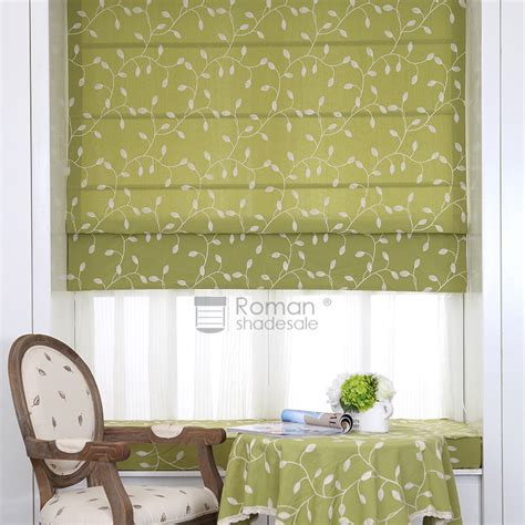 leaf patterned roman blinds pastoral green leaf pattern light filtering roman shades