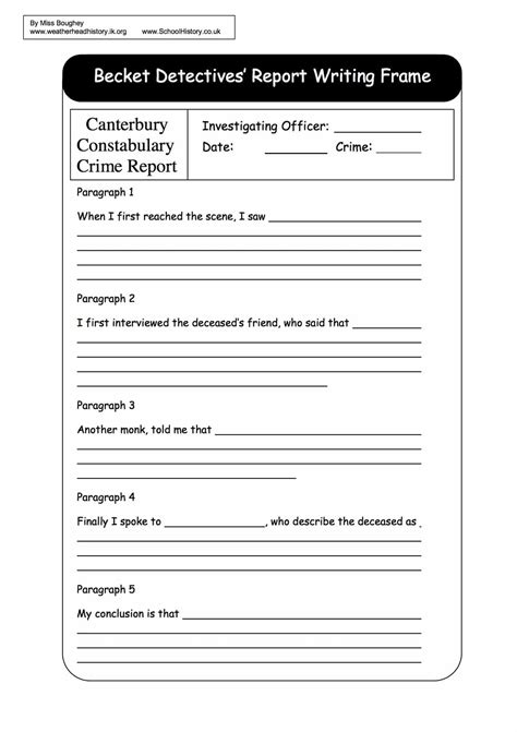 Planning Frame For Report Writing by Free History Worksheets Ks3 Ks4 Lesson Plans Resources