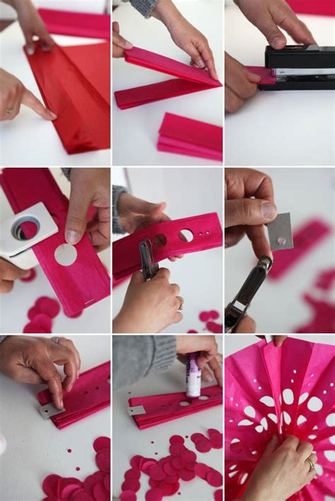 How To Make A Tissue Paper Fan - punched tissue paper fans diy