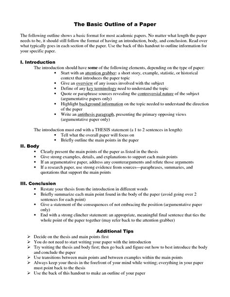 format of an outline for a research paper research paper outline
