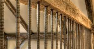 premade banister vertical rebar baluster with wood beam rails deck