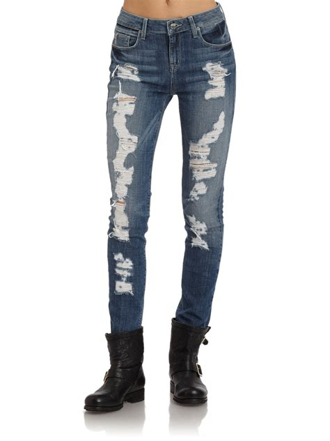 sold design lab denim sold design lab distressed skinny leg denim jeans in blue