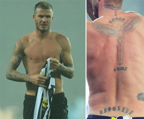david beckham tattoos back photos of who tattoos popsugar