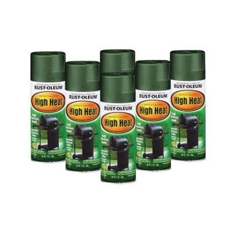 rust oleum stops rust specialty 12 oz high heat flat green spray paint 6 pack
