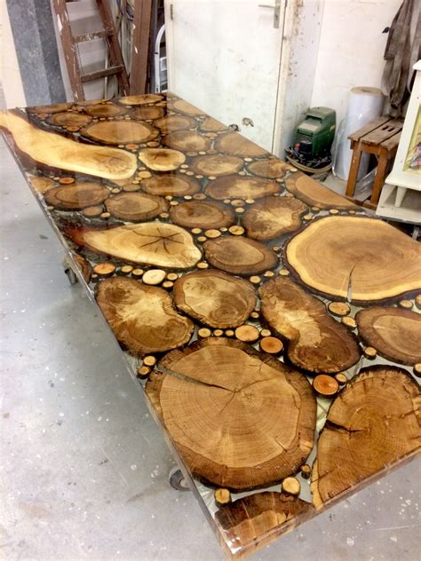 how to resin a table top sliced oak table top in resin epoxy treepoxy oak