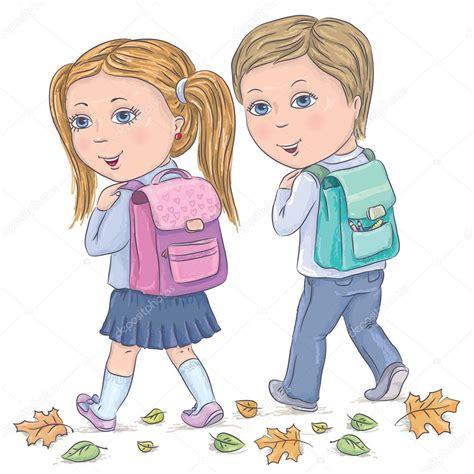 imagenes niños que van ala escuela los ni 241 os van a la escuela vector de stock 169 pinkkoala