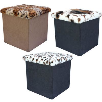 faux fur storage ottoman faux suede folding storage pouffe stool seat ottoman box