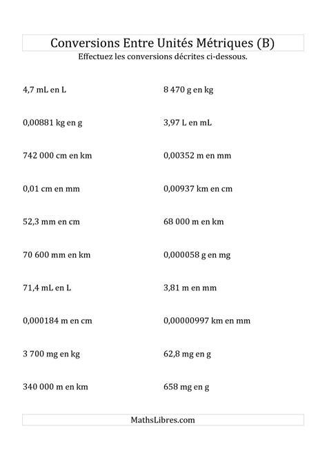 diagramme tige feuille exercice la fiche d exercices de maths 171 conversions m 233 triques