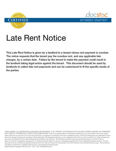 Late Rent Payment Reminder Letter Late Rent Notice Free Sles Late Rent Notice Letter For Payment Form With Sle Forms Late