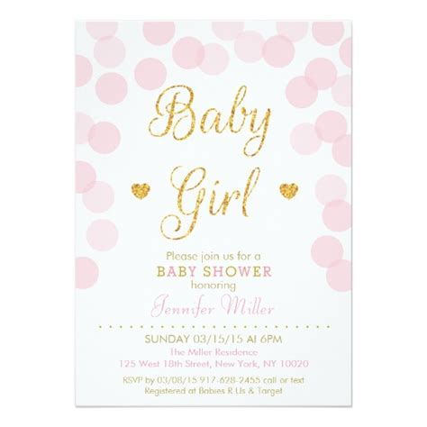 pink and gold baby shower invitation pink gold glitter baby shower invitations zazzle
