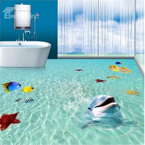 Super Cute Dolphin Playing in the Sea Pattern Bathroom