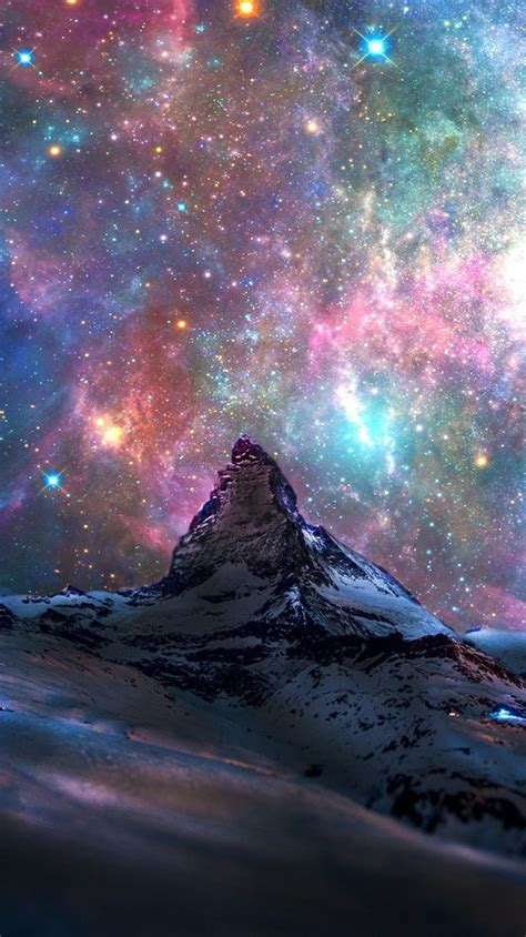 space galaxy view  switzerland mountains iphone