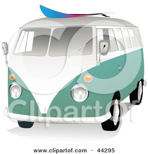 volkswagen van with surfboard clipart 3d green and white vw van with a surf board on the roof