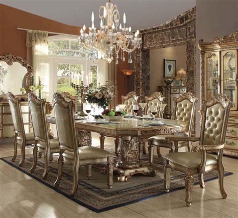 acme furniture dining room set acme furniture vendome 63000 baroque gold patina dining room set 9pcs dining sets