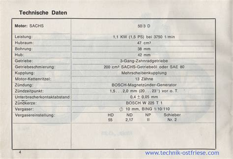 Sachs Motor Technische Daten by Hercules G3 Betriebsanleitung Technische Daten Motor