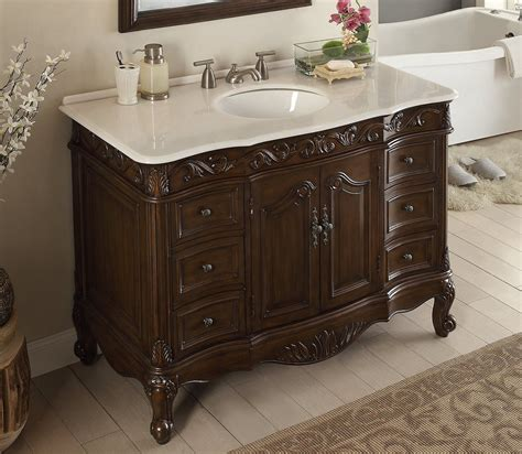48 Inch Bathroom Vanity Traditional Style Dark Brown Color Traditional Style Bathroom Vanities