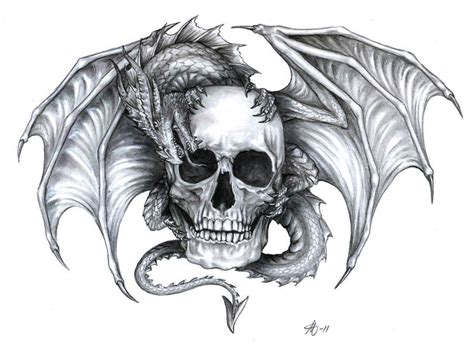 dragon skull tattoo and skull designs draco