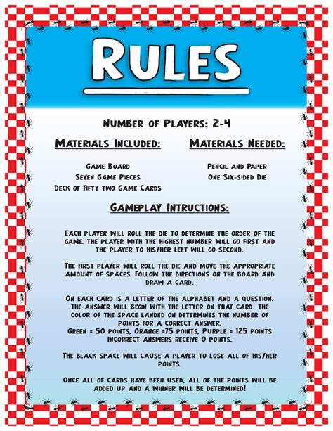 printable board games with instructions game rules
