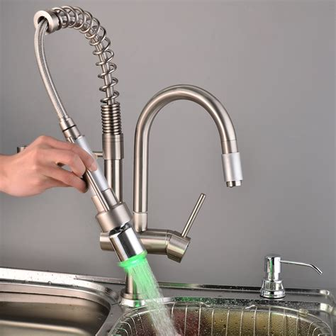 kitchen faucet water pressure brushed nickel kitchen led faucet with pull led spray