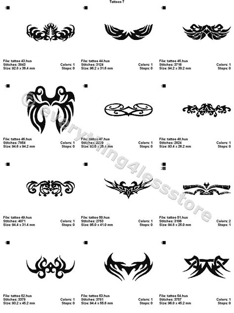 4x4 tattoo designs 48 tattoos 4x4 volume 7 mega embroidery designs on cd