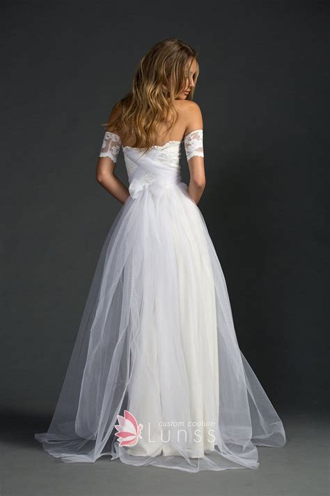 White Lace And Tulle Modern  Ee  Strapless Ee    Ee  A Line Ee  Oor Length