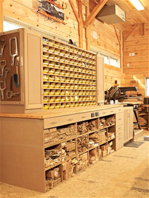 woodworking shop storage space saving hardware bin storage