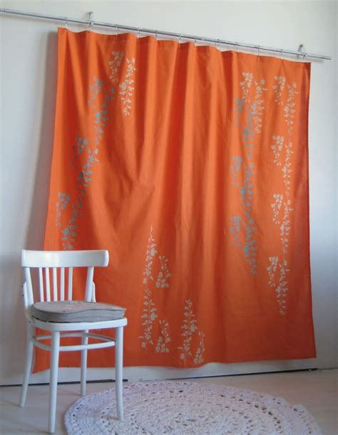 Orange Curtains Bright Orange Shower Curtain With Wisteria Print By
