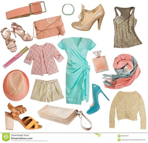 13 Fashion Accessories For Summer by Clothes Collage Apparel Set Isolated Stock