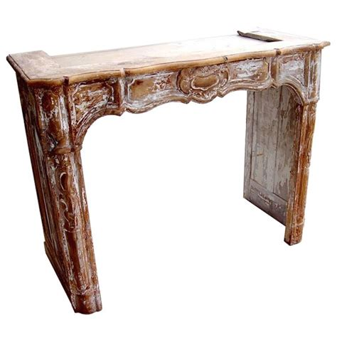 19th century carved wood fireplace mantel for