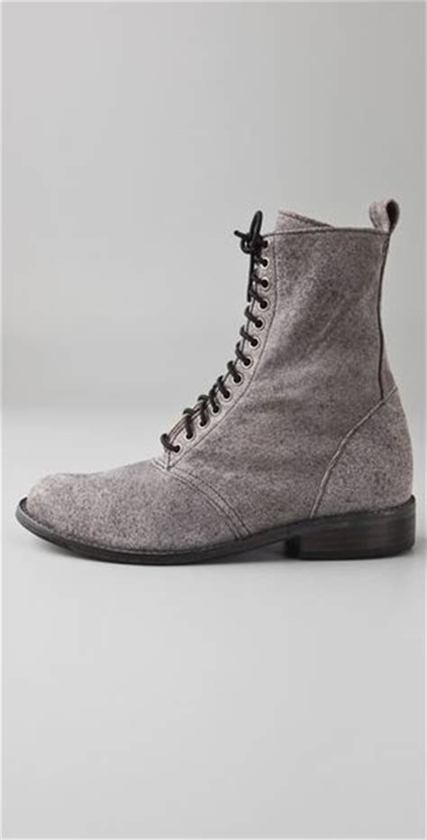 becca moon suede combat boots with elastic laces in gray