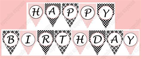 printable happy birthday banner black and white 7 best images of paris party birthday banner free
