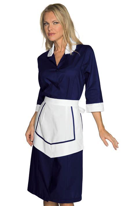 blouse femme de chambre hotellerie ensemble femme de chambre blouse et tablier bleu blanc