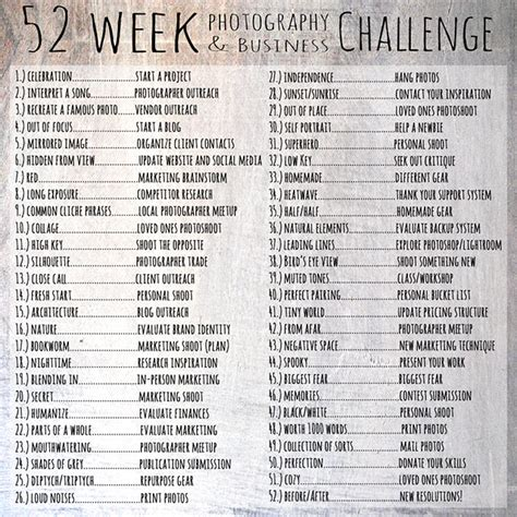 100 day photo challenge list the 52 week photography and business challenge